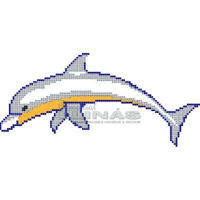 Dibujo fondo piscina Delfín número 2 color gris