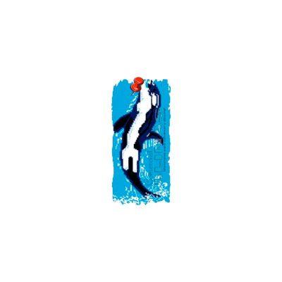 Dibujo fondo piscina Orca saltando
