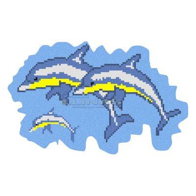 Dibujo fondo piscina Tres delfines