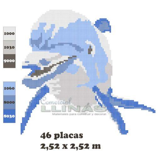 Dibujo fondo piscina Delfín de cara