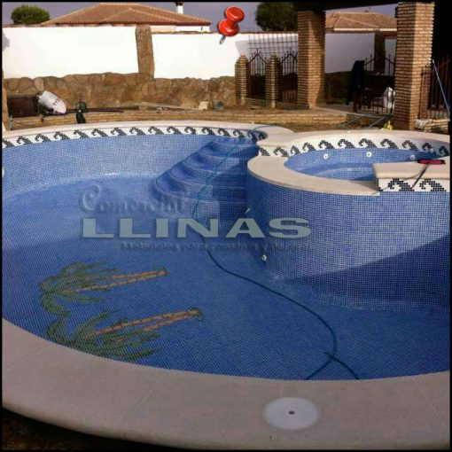 Fondo de piscina de Palmeras duplicadas en la piscina