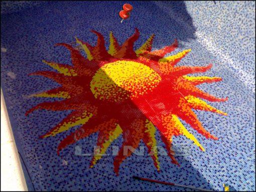 Dibujo fondo piscina Varios Sol grande en piscina