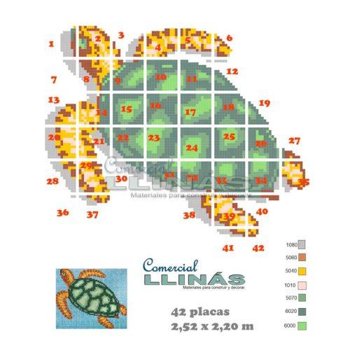 Dibujo fondo piscina Varios tortuga con sombra