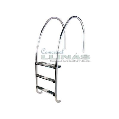 Escalera de radio variable para piscina rebosadero