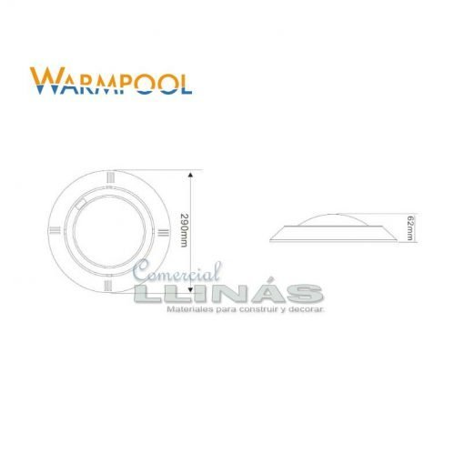 Foco para piscina Warpool color blanco 18W. Medidas