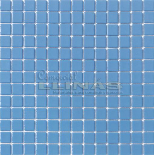 Gresite piscina azul celeste liso. Placa completa