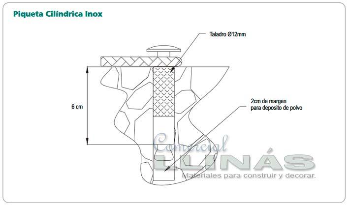 Esquema de la instalación de una piqueta escamoteable para cobertor de piscina