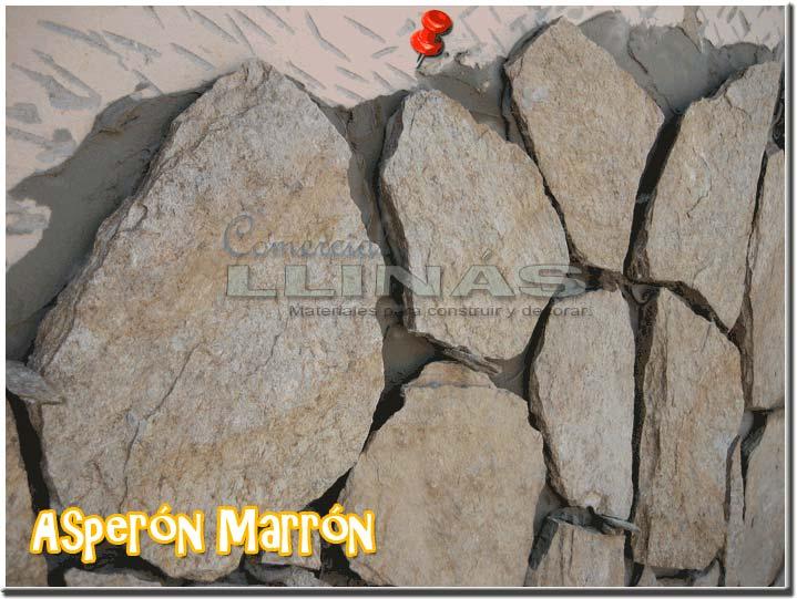 Piedra natural irregular asper n marr n comercial llin s - Colocar piedra natural ...