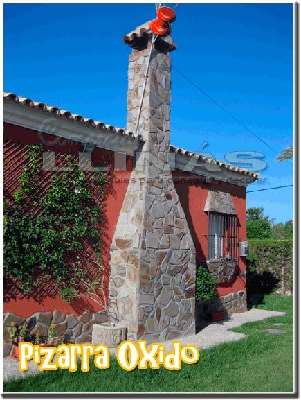 Piedra natural irregular Pizarra Oxido. Muro chimenea