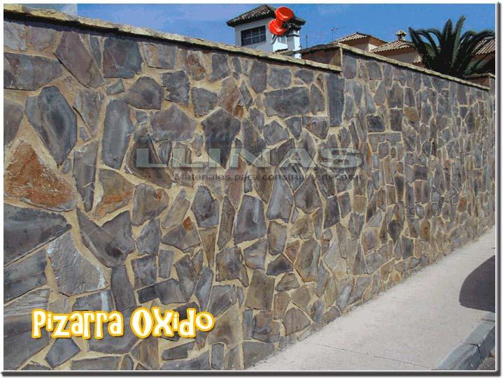 Piedra natural irregular pizarra oxido comercial llin s - Revestimientos de fachadas precios ...