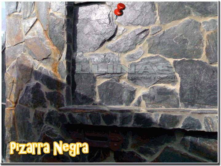 Piedra natural irregular pizarra negra comercial llin s - Piedra natural pizarra ...
