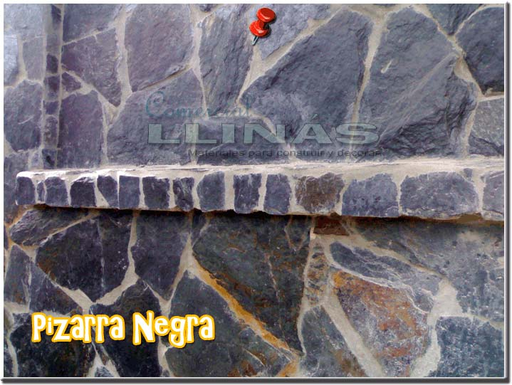Piedra natural irregular pizarra negra comercial llin s for Piedra natural pizarra
