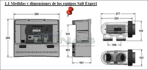 Clorador salino Salt Expert. Medidas
