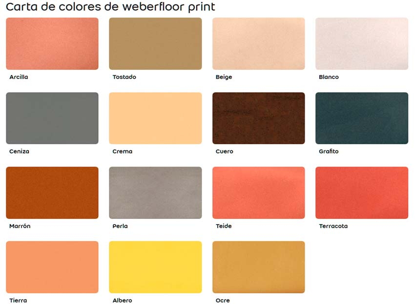 Tabla de colores para weber floor.print